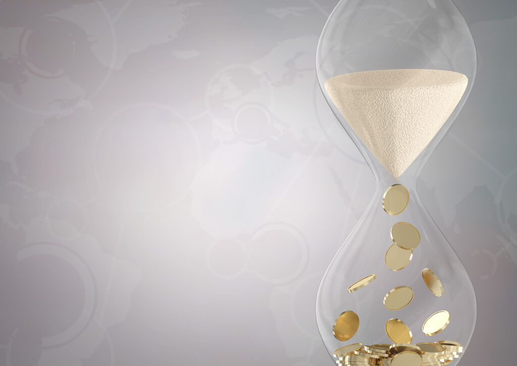 Hourglass showing passing of time