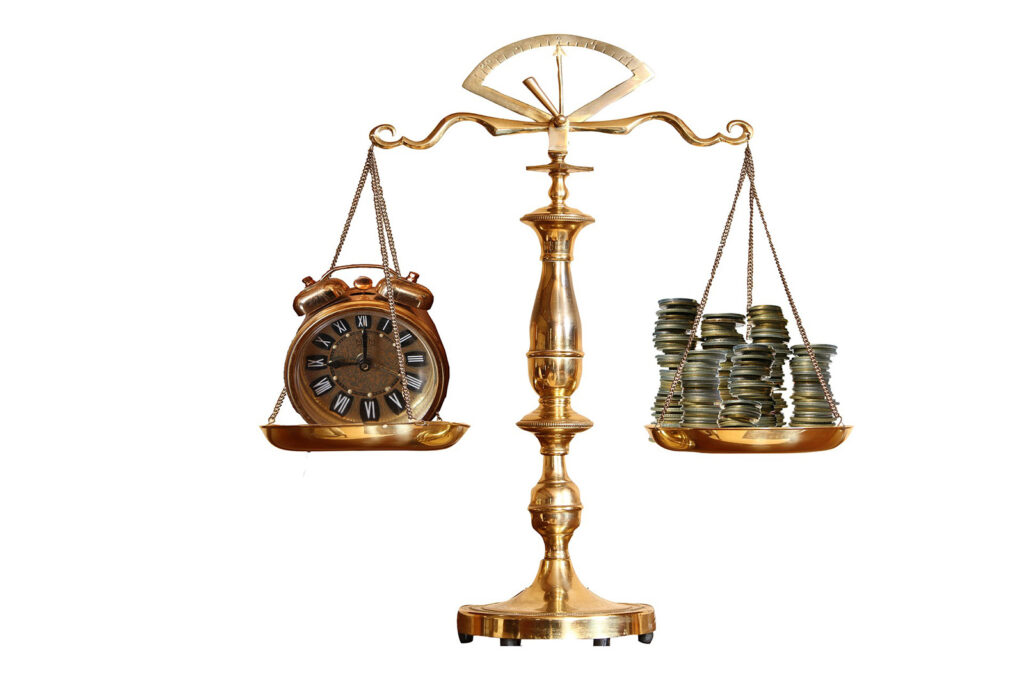 Scales of Justice weighing time and money